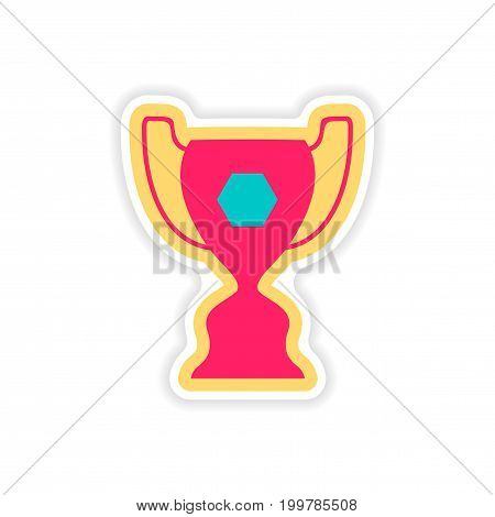 paper sticker Brazilian football cup on white background