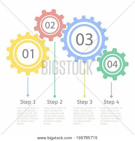 Progress statistic concept. Infographic vector template for presentation. Business flow process steps. Timeline statistical chart.
