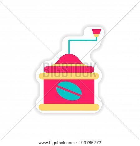 paper sticker coffee grinder on white background