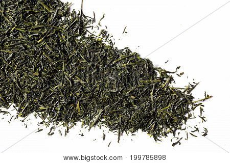 green sencha tea isolated on white background view from above flat lay backgrounds