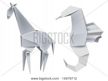 Illustration of folded paper models giraffe and seahorse. Vector illustration. poster