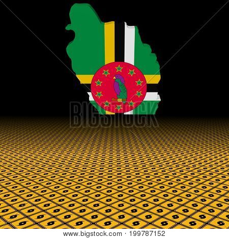 Dominica map flag with hurricane warning sign foreground 3d illustration