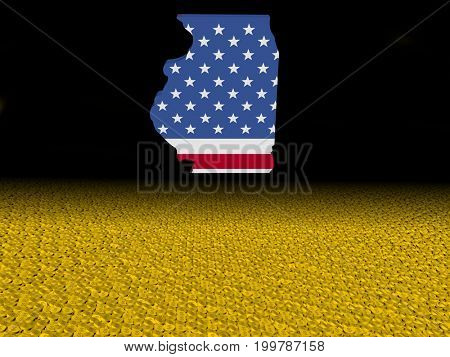 Illinois map flag with dollar coins foreground 3d illustration