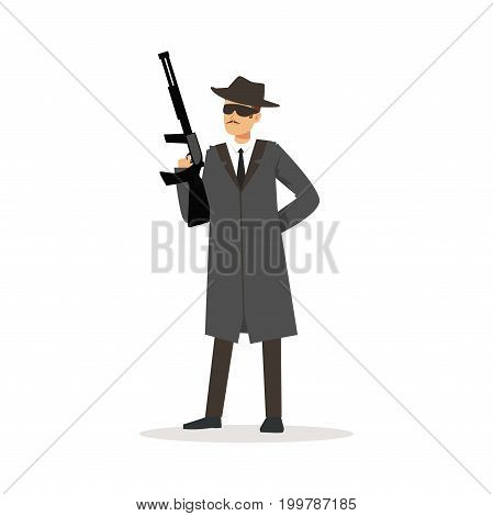 Mafia man character in gray coat and fedora hat holding submachine gun vector Illustration isolated on a white background