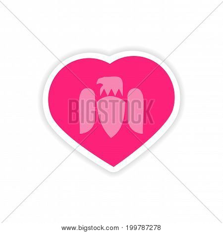 paper sticker Eagle in the heart on white background