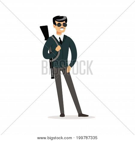 Mafia man character in sunglasses with a gun on his shoulder vector Illustration isolated on a white background