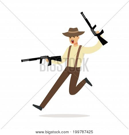 Mafia man character in brown fedora hat running with two submachine guns vector Illustration isolated on a white background
