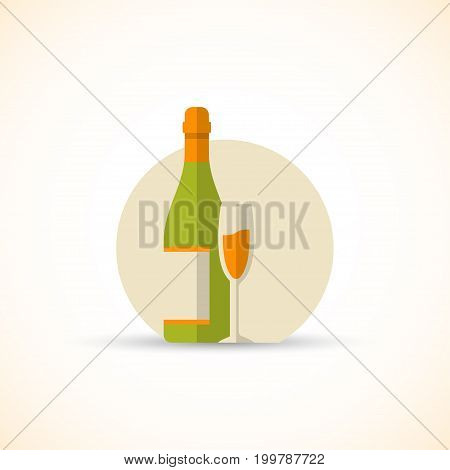 Vector illustration of chamapgne bottle with glass in a flat design style