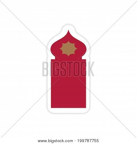 stylish paper sticker on white background Arab mosque