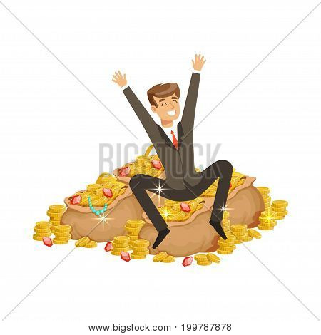 Happy rich successful businessman character sitting on a pile of money and precious stones vector Illustration isolated on a white background