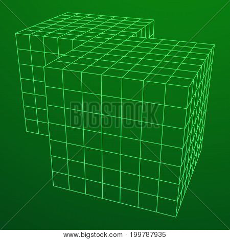 Wireframe Mesh Doubled Box. Connection Structure. Digital Data Visualization Concept. Vector Illustration.