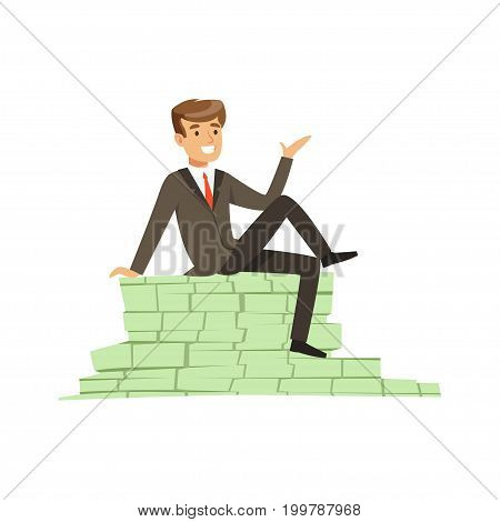 Happy rich successful businessman character sitting on a pile of money banknotes vector Illustration isolated on a white background