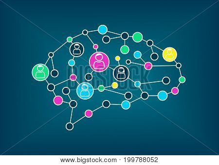 Swarm intelligence or crowd sourcing concept. Vector illustration of simplified brain with connections between nodes.