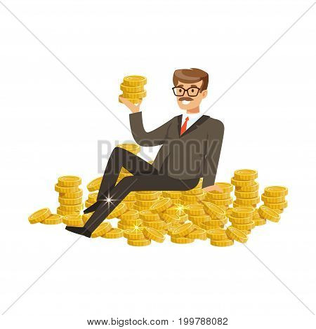 Happy rich successful businessman character sitting o gold coins vector Illustration isolated on a white background