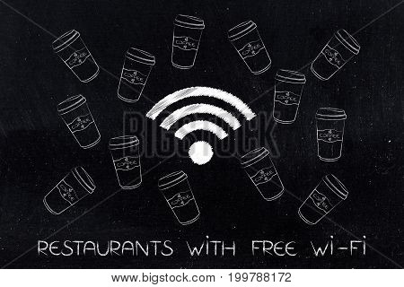 Wifi Icons Surrounded By Coffee Tumblers