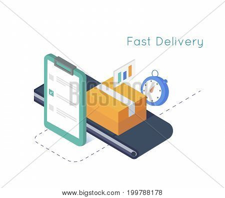 Delivery service and E-Commerce. Package box sealed with tape, clipboard,stopwatch. Isometric illustration delivery concept
