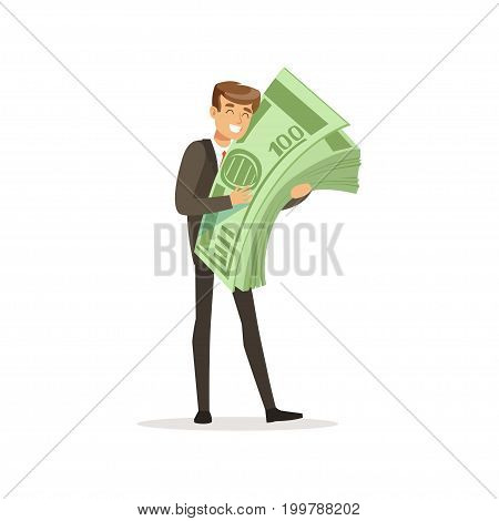 Happy rich successful businessman character holding giant money stack vector Illustration isolated on a white background