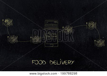 Smartphone With Food Bags On The Screen And Line Of Different Recipe Plates Around It