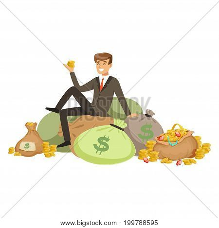 Happy rich successful businessman character sitting on a pile of money bags and precious stones vector Illustration isolated on a white background