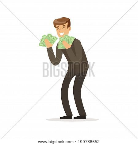 Happy rich successful businessman character with a lot of money vector Illustration isolated on a white background