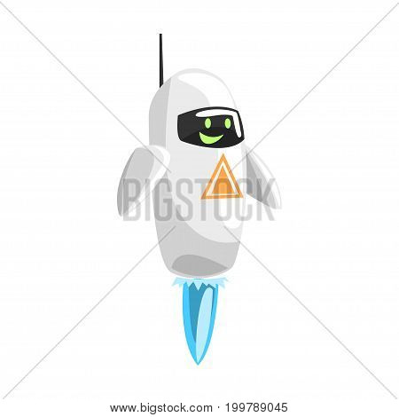 Funny cartoon robot character vector Illustration on a white background
