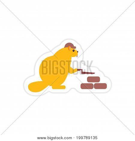 stylish paper sticker on white background beaver builder