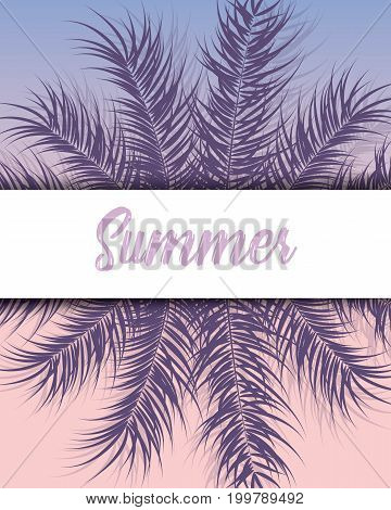 Tropical design with purple palm leaves and plants on gradient background with text vector illustration