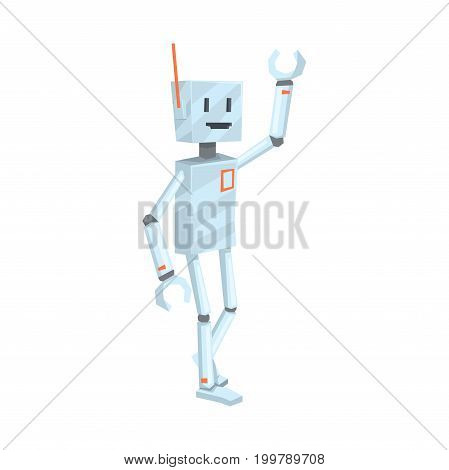 Cute cartoon robot character waving Hello vector Illustration on a white background