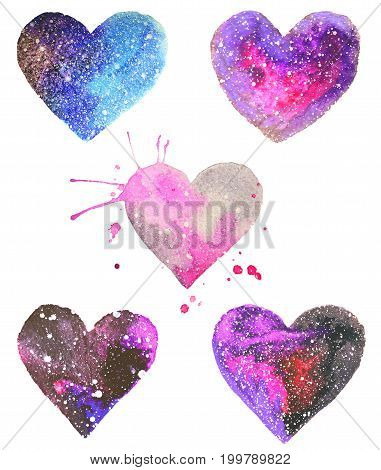 Set with beautiful watercolor hearts isolated on white background. Colors of space, starry sky