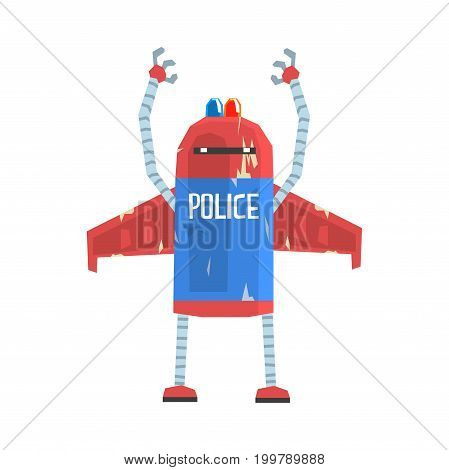 Cute cartoon android policeman character vector Illustration on a white background