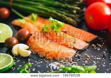 Delicious Portion Of Fresh Salmon Fillet With Salt And Pepper