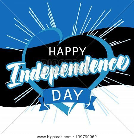 Independence day of Estonia lettering in blue heart on national flag vector background. Happy Independence Day Estonia heart and beams greeting card