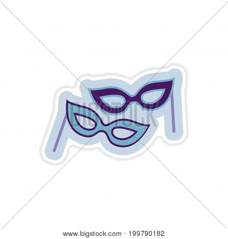 paper sticker on white background Christmas mask