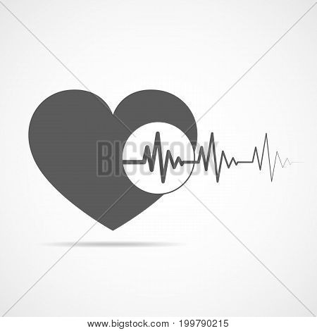 Gray heart icon with sign heartbeat. Vector illustration. Heart in flat style.