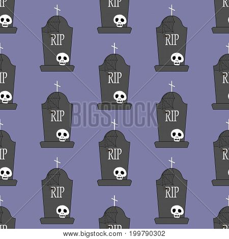 Headstone and skull pattern on the purple background. Vector illustration