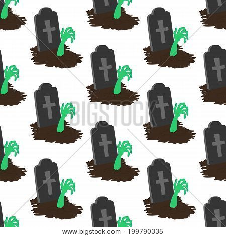 Headstone and zombie hand pattern on the white background. Vector illustration