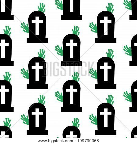 Headstone and zombie pattern on the white background. Vector illustration