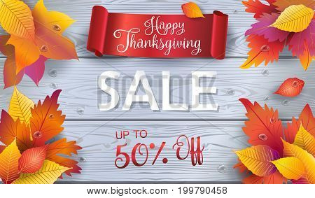 Sale. Happy Thanksgiving Autumn Holiday Sale promotion banner with red ribbon logo, fall maple leaves, wood background. Trendy Fall season Vector illustration.