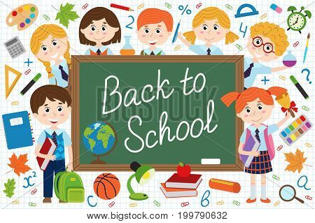 back to school blackboard with schoolchild and school supplies  - vector illustration, eps