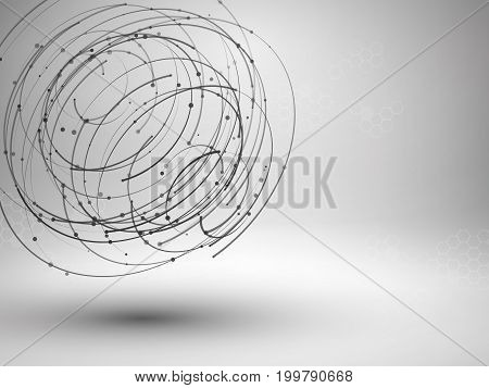 Wireframe mesh element. Abstract swirl form with connected lines and dots. Connection concept. Techology background. Vector Illustration.