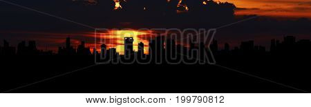 Bangkok, Thailand- August 12, 2017: Sunset Over Bangkok City With Panorama And Silhouette Style ,ban
