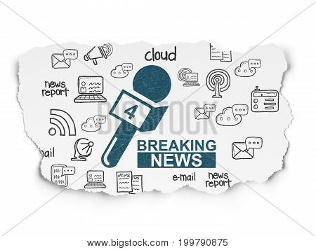 News concept: Painted blue Breaking News And Microphone icon on Torn Paper background with  Hand Drawn News Icons