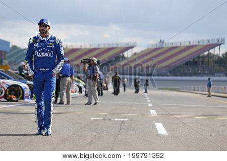 August 11, 2017 - Brooklyn, Michigan, USA: Jimmie Johnson (48) hangs out on pit road during qualifying for the Pure Michigan 400 at Michigan International Speedway in Brooklyn, Michigan.