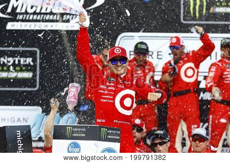 August 13, 2017 - Brooklyn, Michigan, USA: Kyle Larson (42) wins the Pure Michigan 400 at Michigan International Speedway in Brooklyn, Michigan.
