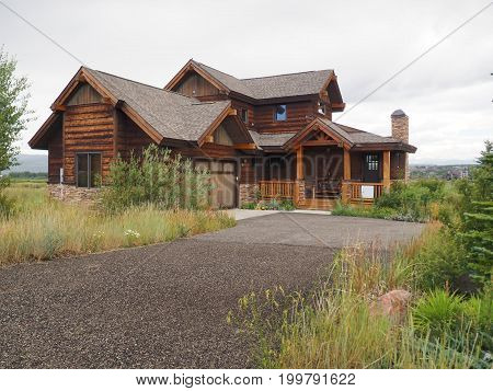 Granby CO - August 12: typical log cabin wood style home in rural Colorado