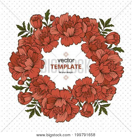 Handdrawn vector poster with place for your text. Unique template for wedding card, save the date or invitation.Organic floral design. Summer card.