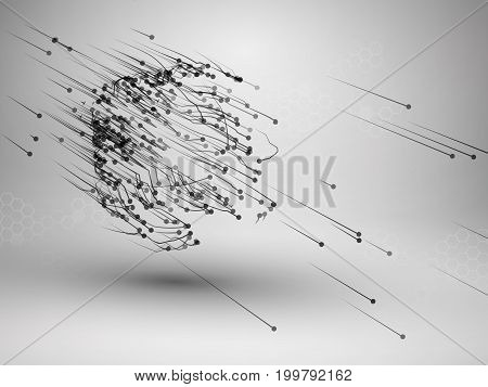 Cube with connected lines and dots. Wireframe mesh motion element. Connection concept. Technology background. Vector illustration.