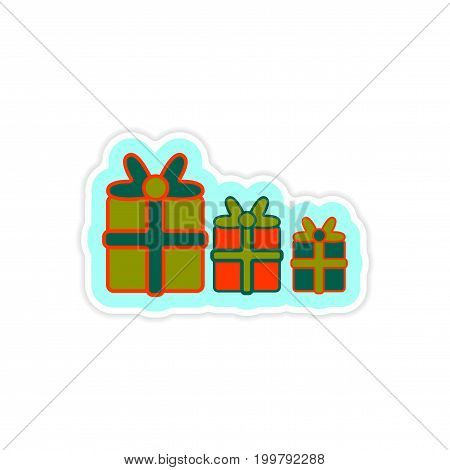 paper sticker on white background new Year gifts