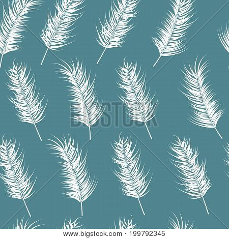 Seamless pattern with tropical leaves on blue background vector illustration