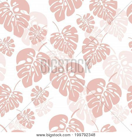 Summer seamless pattern with pink monstera palm leaves on white background vector illustration